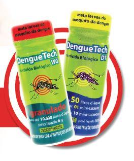 O DengueTech é um larvicida de origem biológica que não causa nenhuma agressão ao homem nem ao meio ambiente. Outro diferencial do produto é o uso de protetor solar na sua fórmula, para que não haja degradação em locais expostos ao sol (Foto: Peter Ilicciev)